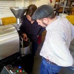 Discussion at the sample roaster